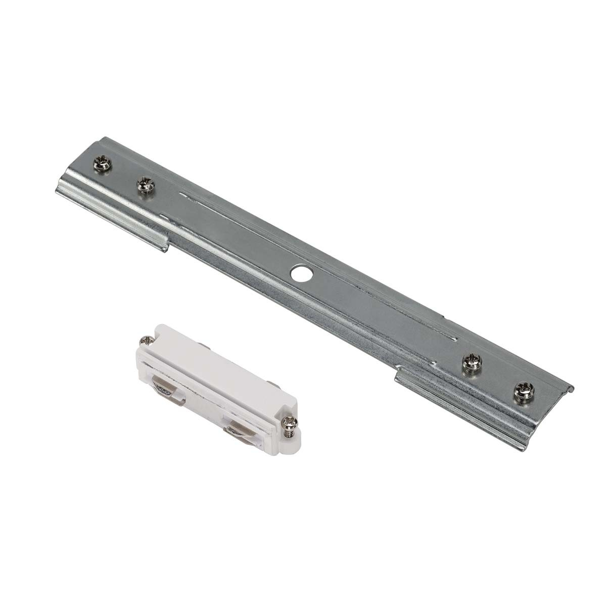 SLV 143271 Straight Coupler With Stabiliser White & Matt Nickel 1 Circuit 240V Recessed Track Accessory