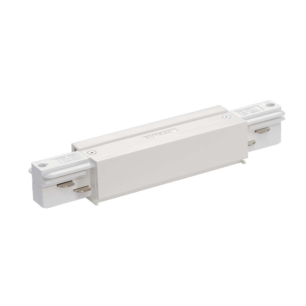 SLV 145661 Straight Coupler With Feed White Eutrac 3 Circuit 240V Surface Track Accessory