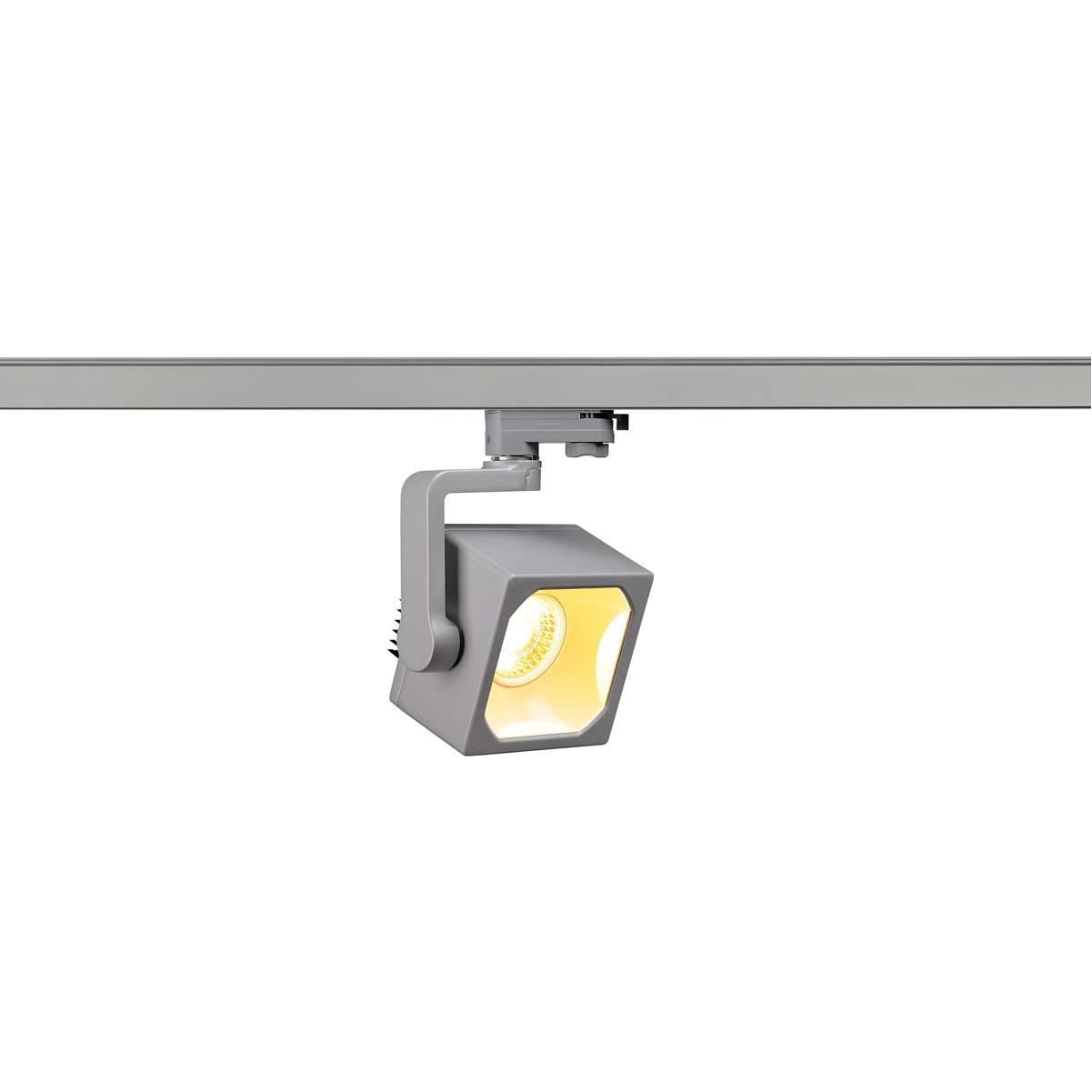 SLV 152744 Euro Cube Spot LED 28.5W 3000K Eutrac 3 Circuit Track Light Silver Grey