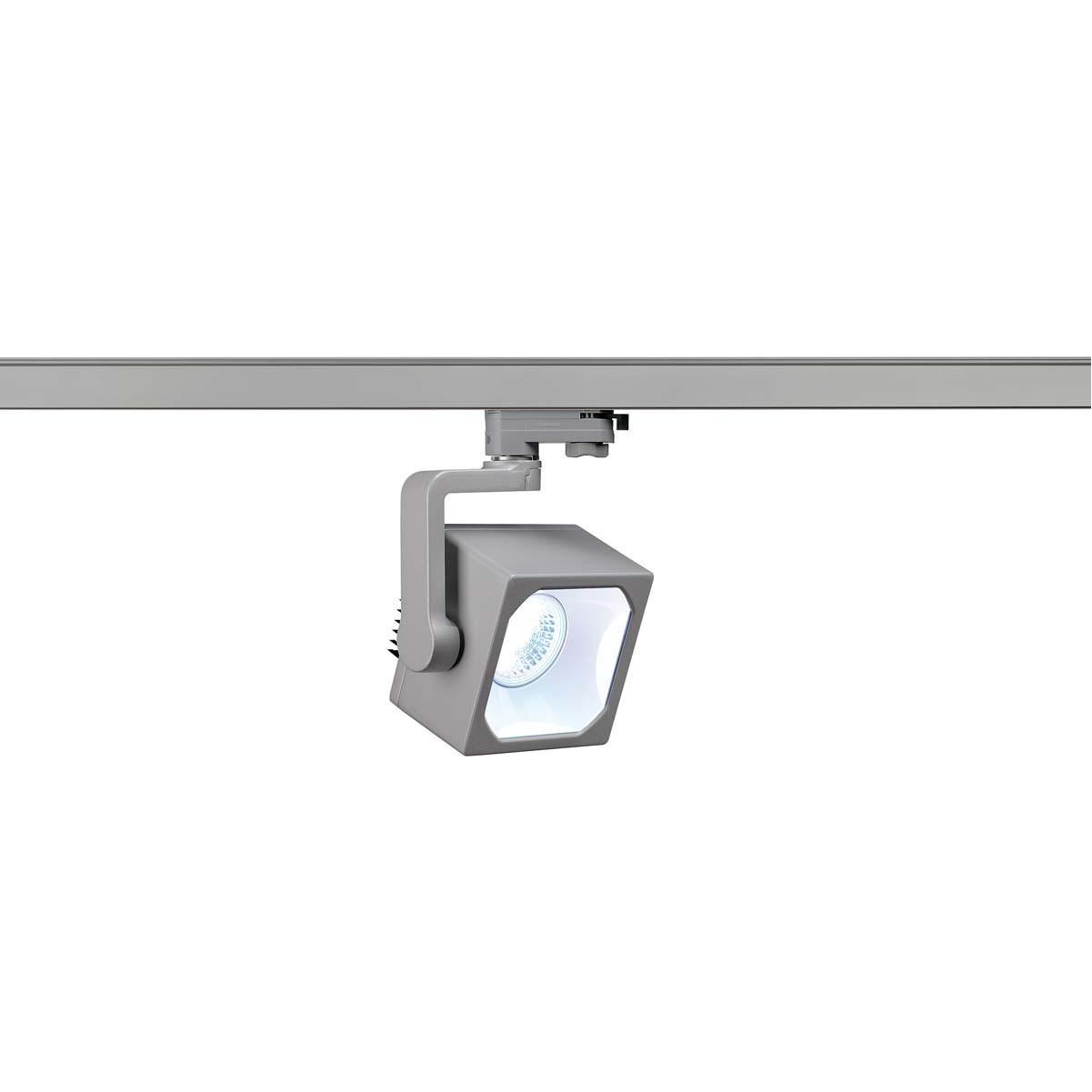 SLV 152774 Euro Cube Spot LED 28.5W 4000K Eutrac 3 Circuit Track Light Silver Grey