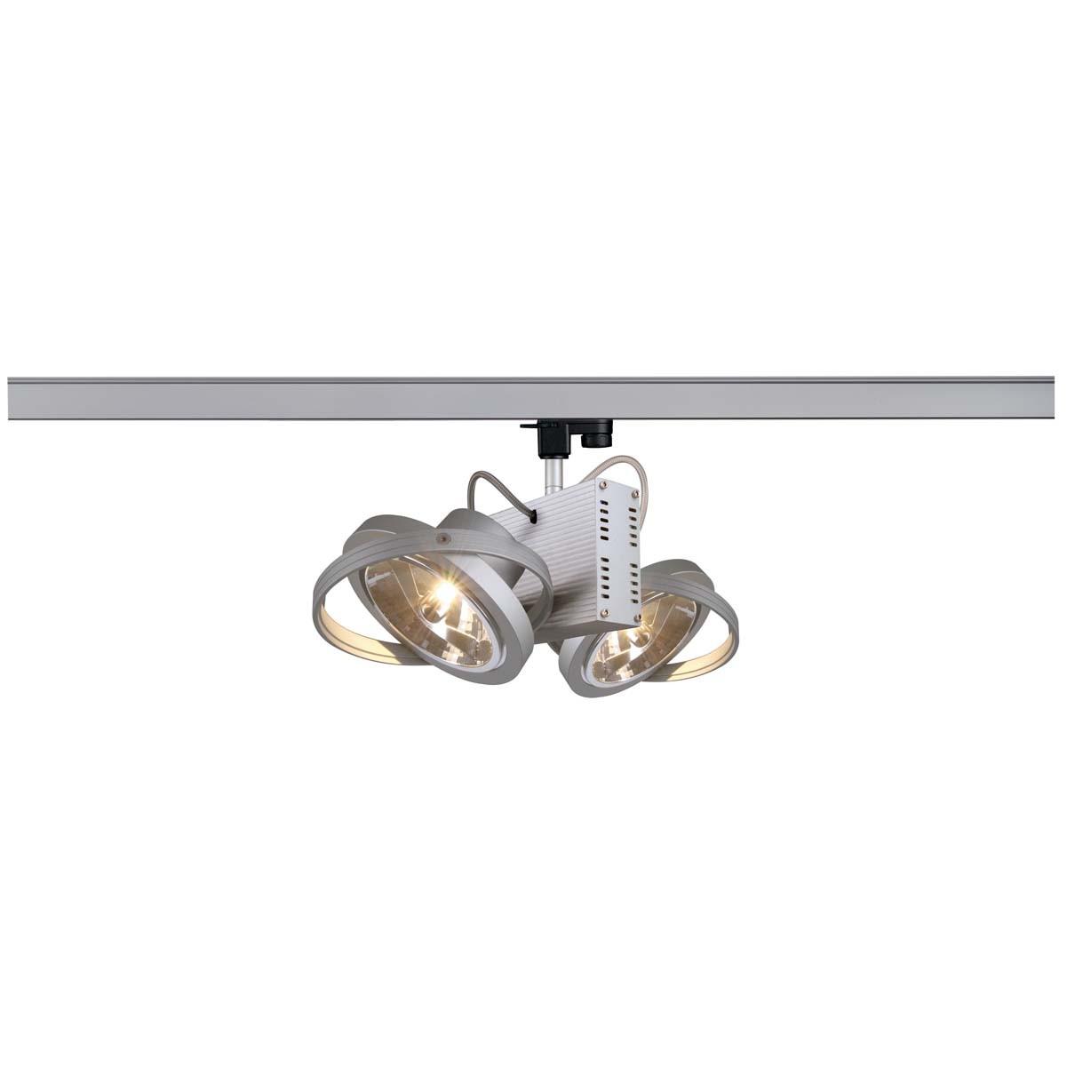 SLV 153012 Tec 2 QRB 2x50W Silver Grey Eutrac 3 Circuit 240V Track Light