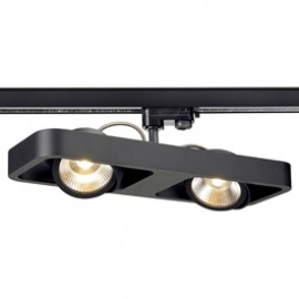 SLV 152580 Lynah Spot LED 2x10W 3000K Eutrac 3 Circuit Track Light Matt Black DIMMABLE