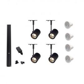 Track 800042 Mains Voltage 4 x Bima Spot Lights GU10 dimmable 230v Track Kit Black