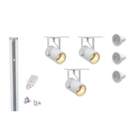 Track 800059 Eurospot GU10 x 3 White LED Track Kit