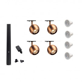 Track 800115 Single Eye 1 Copper x 4 Track Kit Black