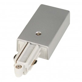 SLV 143032 Feed In Earth Left Silver Grey 1 Circuit 240V Track Accessory
