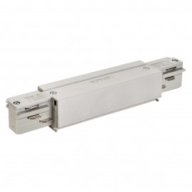 SLV 145664 Straight Coupler With Feed Silver Grey Eutrac 3 Circuit 240V Surface Track Accessory