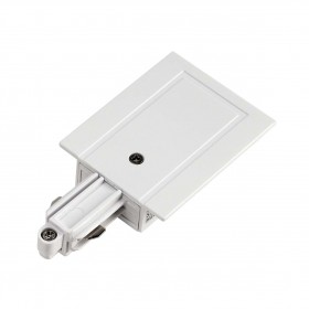 Feed In Earth Left White 1 Circuit 240V Recessed Track Accessory