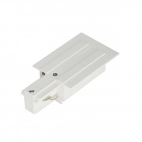 Feed In Earth Left White Eutrac 3 Circuit 240V Recessed Track Accessory