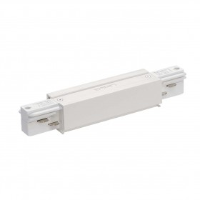 Straight Coupler With Feed White Eutrac 3 Circuit 240V Surface Track Accessory