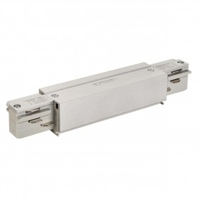 Straight Coupler With Feed Silver Grey Eutrac 3 Circuit 240V Surface Track Accessory