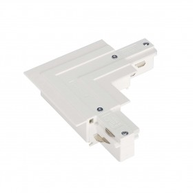 L Coupler Earth Outer White Eutrac 3 Circuit 240V Recessed Track Accessory